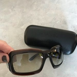 """Chanel """"mother of pearl"""" brown sunglasses"""